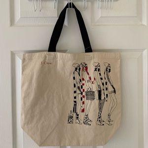 NWT J. Crew Illustration Canvas Tote Bag